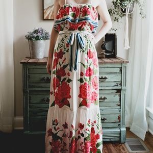 Boho Floral Print Maxi Dress S M L Anthropologie